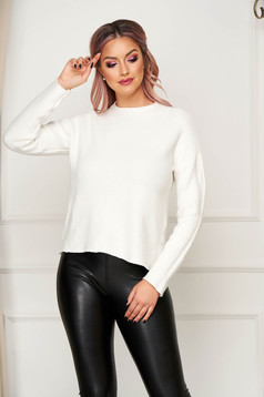 White women`s blouse casual flared knitted with large collar