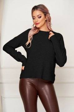 Black women`s blouse casual flared knitted with large collar