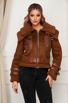 Brown jacket casual from ecological suede with faux fur lining