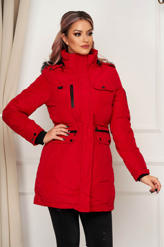 Red jacket casual from slicker with straight cut with inside lining