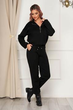 Compleu SunShine negru tricotat casual din 2 piese cu pantaloni cu croi larg cu elastic in talie