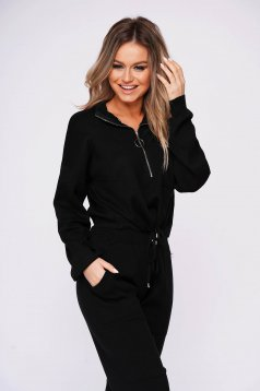 Black lady set casual 2 pieces with trousers with easy cut with elastic waist knitted