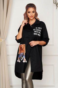 Black women`s shirt casual asymmetrical flared nonelastic cotton