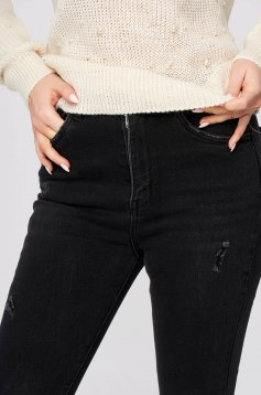 Black jeans casual skinny jeans high waisted slightly elastic cotton