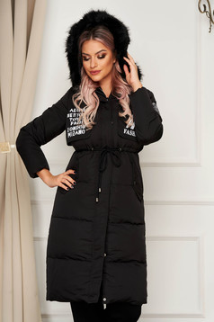 Black jacket casual midi from slicker is fastened around the waist with a ribbon