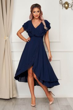 Dress StarShinerS darkblue long occasional from veil fabric with ruffle details