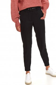 Black trousers casual medium waist conical accessorized with belt