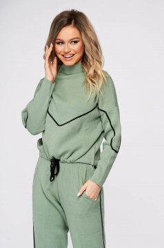 Sport 2 pieces lightgreen casual from two pieces with trousers with easy cut knitted