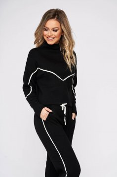 Sport 2 pieces black casual from two pieces with trousers with easy cut knitted