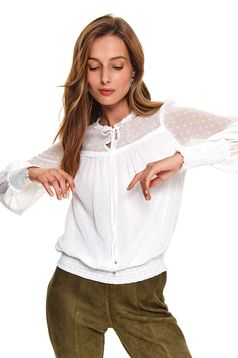 White women`s blouse casual flared plumeti thin fabric