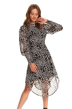 Peach dress asymmetrical daily from veil fabric long sleeved a-line animal print