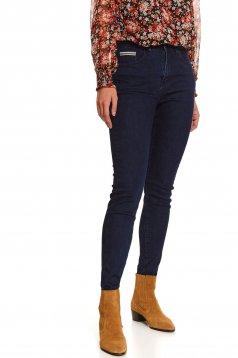 Pantaloni Top Secret albastri casual skinny din denim cu talie medie