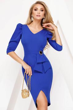 Rochie Fofy albastra eleganta tip creion cu maneca 3/4 cu decolteu in v slit frontal