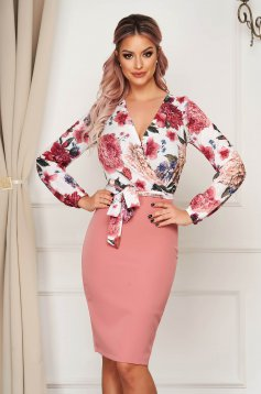 StarShinerS dress elegant cloth from elastic fabric midi pencil with floral print