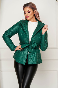 Casual short cut green jacket from slicker high collar with pockets