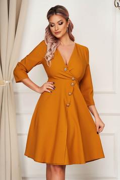 Elegant midi cloche mustard dress slightly elastic fabric with button accessories