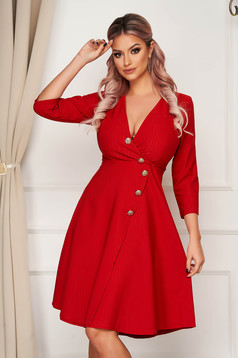 Elegant midi cloche bricky dress slightly elastic fabric with button accessories