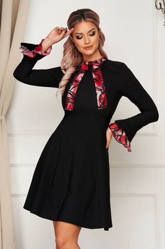 Elegant midi red dress cloth a-line with bell sleeve