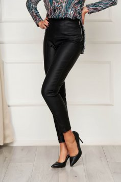 Casual black StarShinerS trousers from ecological leather with tented cut high waisted