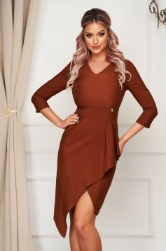Brown dress elegant midi pencil slightly elastic fabric with frilled waist