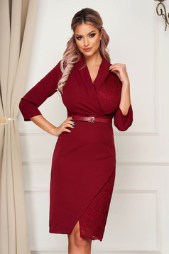Midi office pencil raspberry dress slightly elastic fabric laced