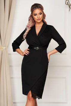 Midi office pencil black dress slightly elastic fabric laced