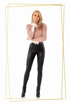 Tights black from ecological leather with tented cut with inside lining high waisted