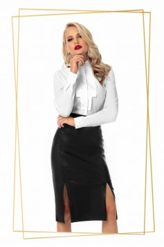 Office midi pencil black skirt from ecological leather high waisted