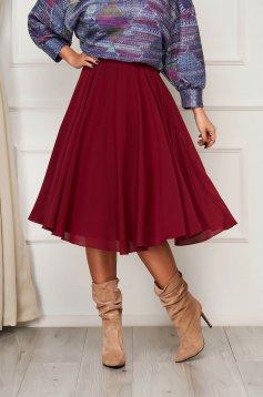 StarShinerS burgundy skirt elegant midi cloche from veil fabric high waisted