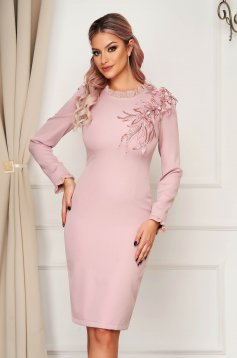 Dress StarShinerS lightpink elegant midi cloth from elastic fabric with glitter details with 3d effect