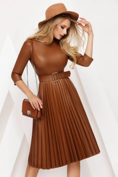 Brown dress daily cloche faux leather folded up accessorized with belt