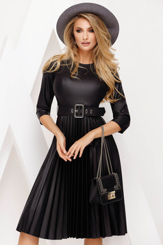 Black dress daily cloche faux leather folded up accessorized with belt