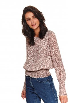 Peach women`s blouse casual thin fabric flared long sleeved