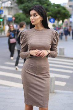 Grey dress daily pencil from elastic fabric lycra