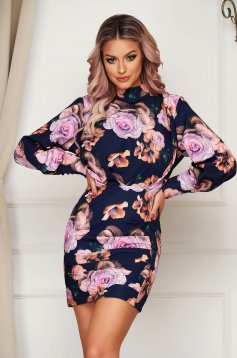 Dress elegant with tented cut with puffed sleeves slightly elastic fabric with floral prints