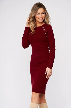 Burgundy dress midi pencil knitted fabric with button accessories