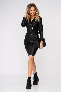 Black dress casual arched cut faux leather accessorized with tied waistband