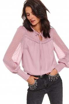 Lightpink women`s blouse flared from veil transparent sleeves