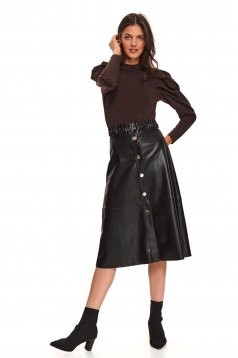 Black skirt casual midi high waisted flaring cut from ecological leather