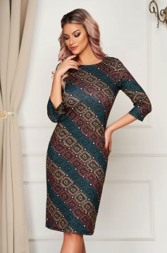 StarShinerS dress midi daily knitted with 3/4 sleeves straight