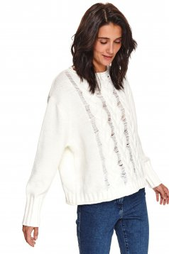 Pulover Top Secret alb casual cu croi larg din material tricotat