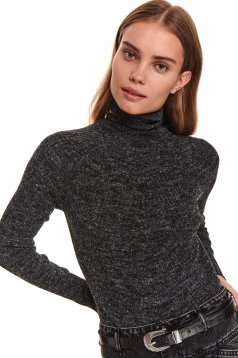Black sweater casual with turtle neck with tented cut knitted fabric