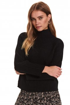Black sweater casual flared from thick fabric knitted turtleneck