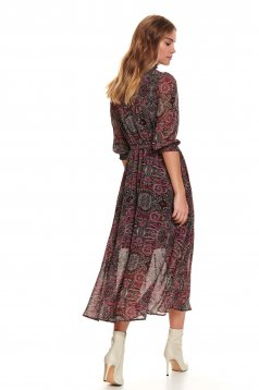 Red dress casual midi flaring cut from veil fabric