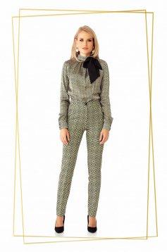 Trousers khaki office conical slightly elastic fabric with medium waist