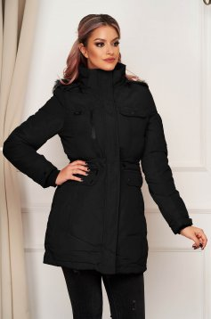 Black jacket casual from slicker with straight cut with inside lining