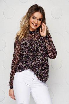 Bluza dama Top Secret neagra casual cu croi larg cu imprimeuri florale