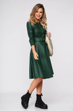 Green daily dress flaring cut ecological leather accessorized with belt