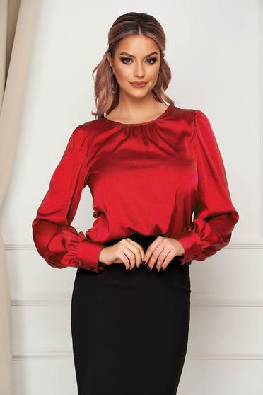 Bluza dama Artista rosie office cu croi larg din material satinat