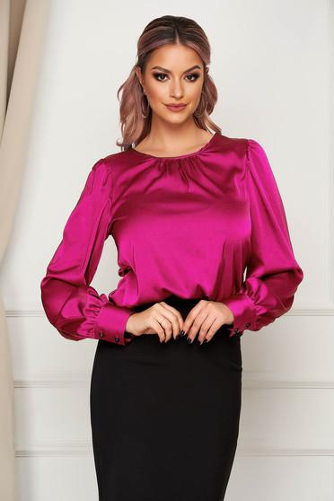 Bluza dama Artista fuchsia office cu croi larg din material satinat